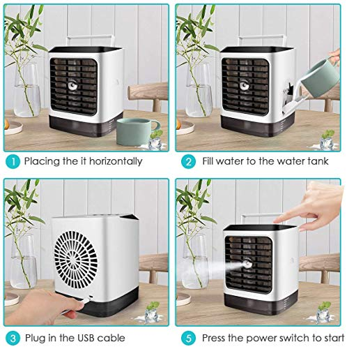 ARESAT Portable Air Conditioner, 4 in 1 Mini Personal Space Air Cooler, Humidifier, Desktop Cooling Fan with 3 Speeds for Home Room Office - Shoppersbase