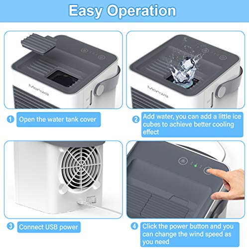 Manwe Portable Air Cooler, Small Air Conditioner Cooler and Humidifier,Mini Evaporative Coolers Purifier, 3 Fan Speeds, Mobile Air Cooling Fan for Home Office - Shoppersbase
