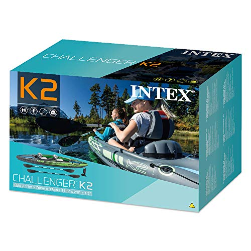 Intex K2 Challenger Kayak 2 Person Inflatable Canoe with Aluminum Oars and Hand Pump - Shoppersbase