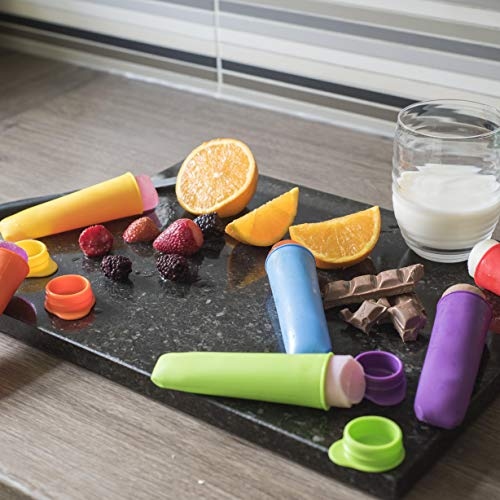 Premium 6 Mini Popsicle Ice Pop Silicone Moulds Multi Colour Ice Lolly Pop Moulds Reusable (6 Pack) Perfect for Kids Children with Lid BPA Free Calippo High Quality