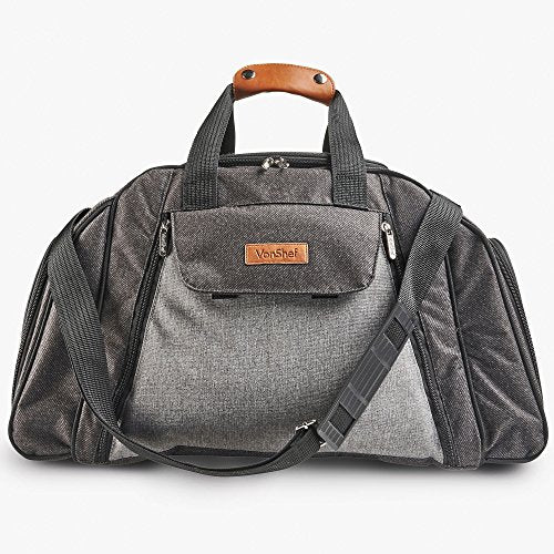 VonShef Ash 6 Person Picnic Holdall Bag - Premium Woven Grey Finish & Leather-Style Detailing, Includes 41 Piece Dining Set & Cooler Compartment - Shoppersbase