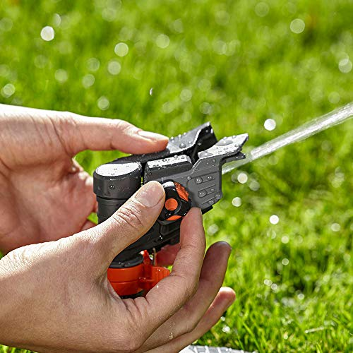 GARDENA Premium Full or Part Circle Pulse Sprinkler (on a plastic sled): Premium sprinkler for watering large areas of up to 490 m², infinite range adjustment up to 12.5 m (8135-20) - Shoppersbase