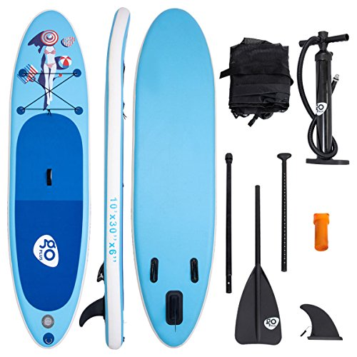 COSTWAY 10ft/305cm Inflatable SUP Stand up Board, Latest Inkjet Process Anti-Fading Paddle Board with 3 Fins Thuster, Adjustable Paddle, Hand Pump & Carry Backpack, Repair Kit (Bikini Girl) - Shoppersbase