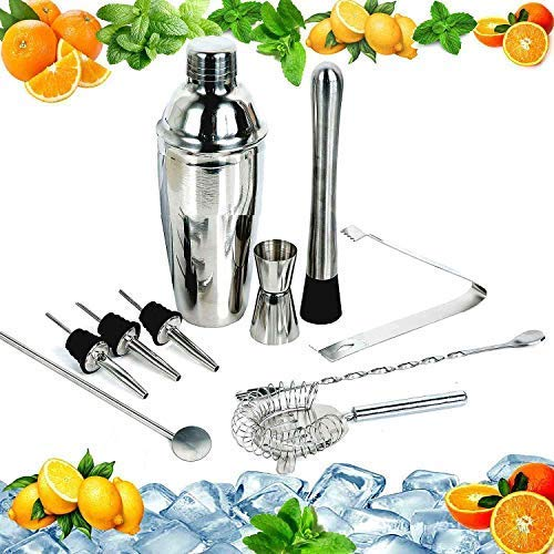 Cocktail Maker Set 12 Pce Home Cocktail Making Kit with Manhattan Cocktail Shaker Bar Measures, Twisted Bar Spoon, Muddler, Mixer, Bottle Pourer, Ice Strainer & Ice Tongs by The Wolf Moon® - Shoppersbase
