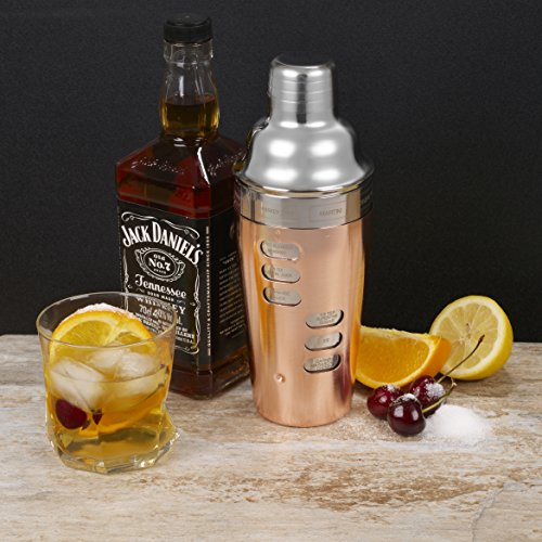 Homiu 700 Millilitres Double Wall Cocktail Shaker with 8 Recipes Copper - Shoppersbase