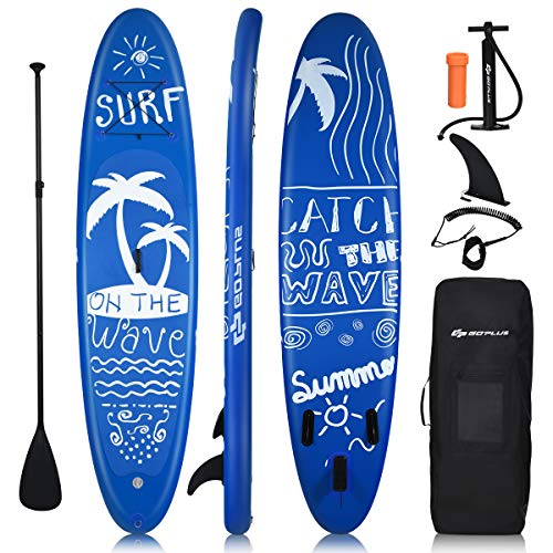 COSTWAY Inflatable Stand Up Paddle Board, 16cm Thick SUP with Accessories, Carry Bag, Adjustable Paddle, Hand Pump, Bottom Fin, Ankle Leash, Non-Slip Deck, for All Levels (Navy Blue, 335cmx76cmx16cm) - Shoppersbase