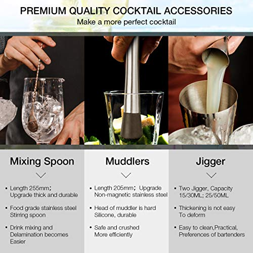 Baban Cocktail Set, Cocktail Making Set 22 Pcs Barware Sets 550ml Stainless Steel Bar Tool Set Bartender Kit with 4 Whiskey Stones Cocktail Gift Set with Cocktail Book - Shoppersbase