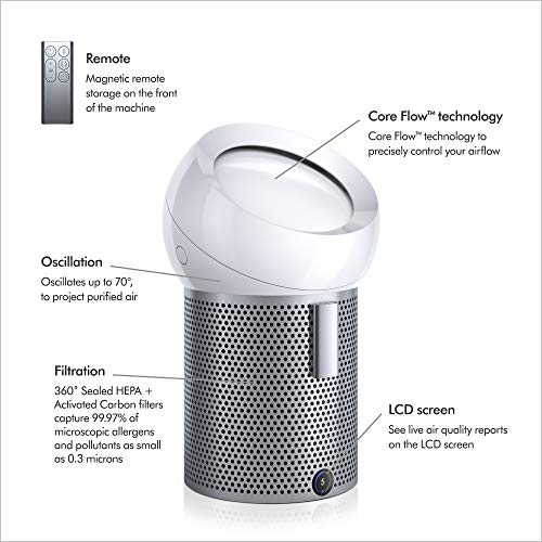 Dyson Pure Cool Me Personal Purifying Fan, BP01 HEPA Air Purifier & Fan, Removes Allergens, Pollutants, Dust, Mold, VOCs, for Desks, Bedside, Side Tables, White - Shoppersbase