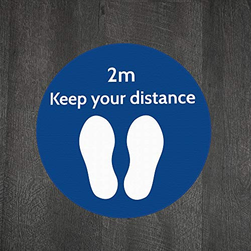 Social Distance Floor Marker Text: Keep Your Distance (2m)- Blue Circle (400x400mm) Anti-Slip for Grocery, Pharmacy, Bank, Lab, Office, Store - Shoppersbase