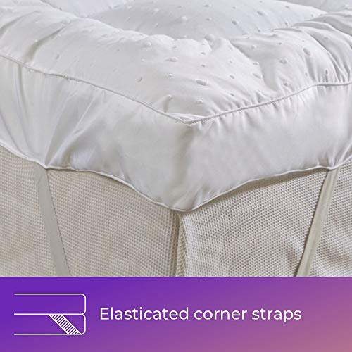 "New""Rejuvopedic"" Microfibre Bed Mattress Topper Protector, Box Stitched & Elasticated Corner Straps (King) - Shoppersbase"
