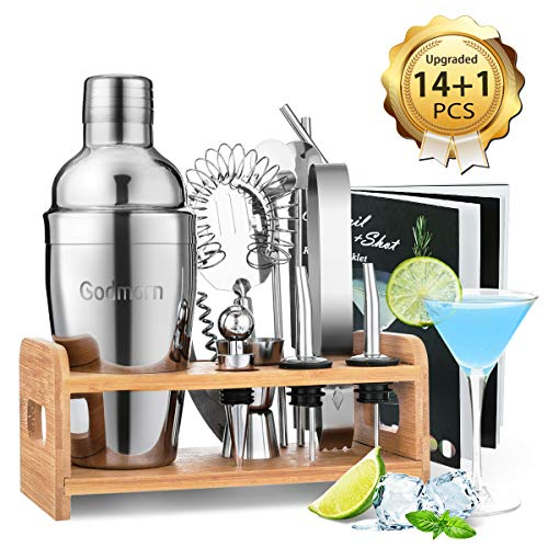 Godmorn Cocktail Set, Cocktail Making Set 14 pcs Cocktail Shaker Set 550ml Stainless Steel Bar Tool Set Bartender Kit with Wooden Display Stand Cocktail Gift Set with Cocktail Book - Shoppersbase