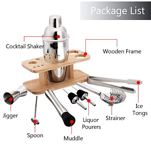 Vinekraft Cocktail Making Set Cocktail Shaker Accessories Set with Wooden Holder -8 Pieces - Shoppersbase