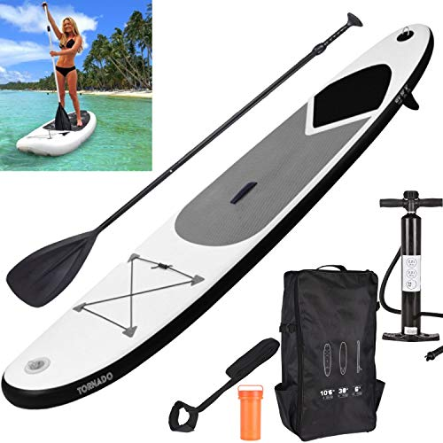 GEEZY Inflatable 320 SUP Surf Board with Adjustable Paddle, Ankle Strap, Pump & Carry Bag Water Sport Paddleboarding (Grey) - Shoppersbase
