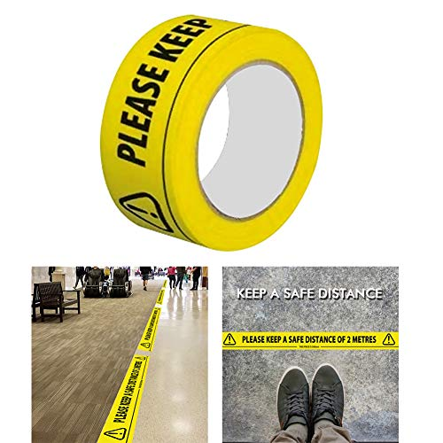 "Social Safe Distancing Safety Tape,PVC Adhesive Hazard Warning Tape Social Safe Distancing Floor Tape(19.7""x1.9"")36 Yard Length - Shoppersbase"