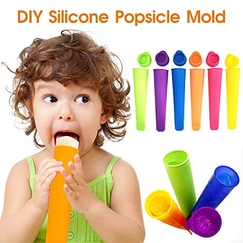 Ice Pop Molds Set, 6 Pcs Multi Colors Food Grade Silicone Popsicle Molds with Lids DIY BPA Free Freezer Ice Cream Moulds for Women Men Kids Ice Lolly Food Maker