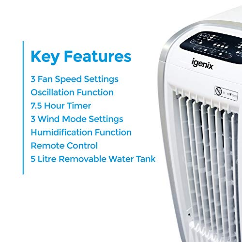 Igenix IG9704 Portable 4-in-1 Evaporative Air Cooler with Fan Heater, Humidifier and Air Purifier Functions, 3 Fan Speeds with Oscillation, 7.5 Hour Timer and Water Tank, 5 Litre, White - Shoppersbase