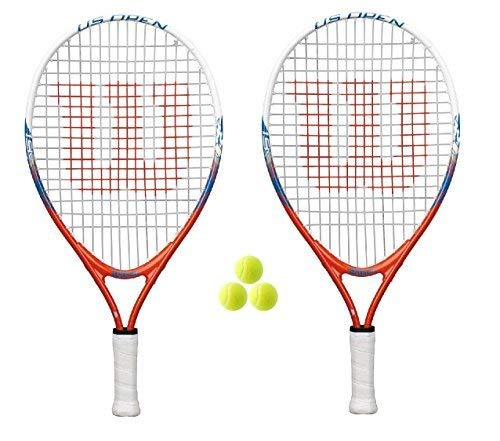 "Wilson 2 x US Open 19"" Junior Tennis Rackets +3 Tennis Rackets - Shoppersbase"