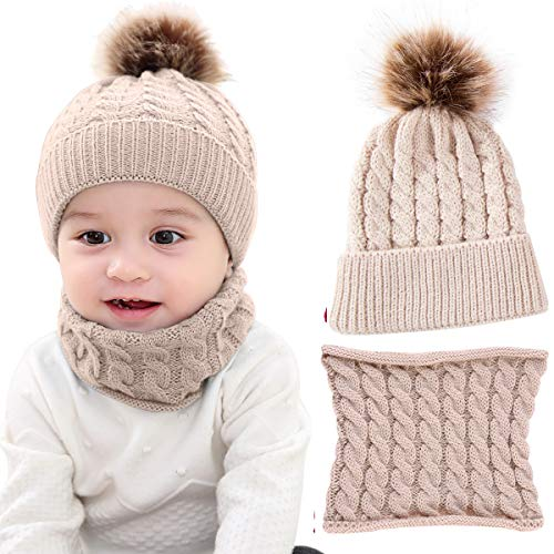 2PCS Toddler Baby Knit Hat Scarf Winter Warm Beanie Cap with Circle Loop Scarf Neckwarmer, 8.7 inchx5.98 inch, Beige - Shoppersbase