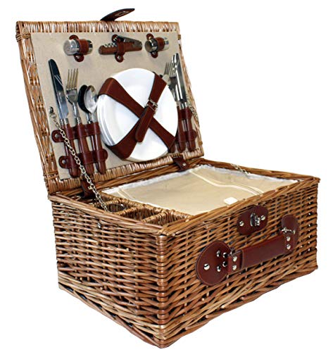 Home-ever Wicker Willow 4 Person Chiller Picnic Basket with Glasses (Natural) - Shoppersbase
