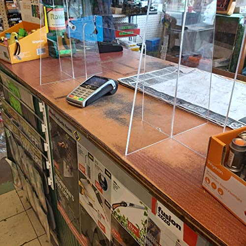 Acrylic Sneeze Guard Virus Shield Protection Divider with or Without Access Hatch For Shop Counters & Supermarkets (DS82/C) (With Hatch (DS82/C)) - Shoppersbase