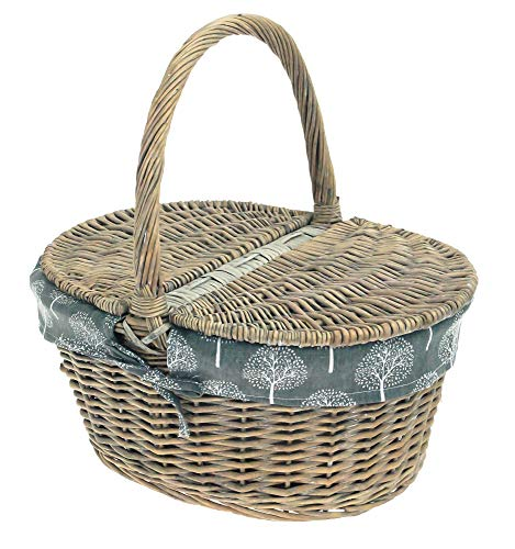 east2eden Grey Wash Wicker Willow Shopping Picnic Basket Style Hamper with Dark Mulberry Liner - Shoppersbase