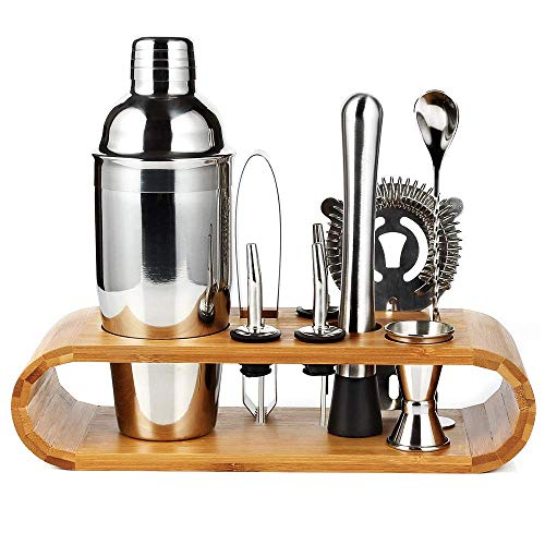 Cretee 10 Pieces Cocktail Shaker Set 750ml Thick Stainless Steel Shaker Cocktail Making Set Bar Tools with Thick Bamboo Stand Bartender Kit - Shoppersbase
