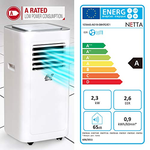 NETTA 8000 BTU Portable Air Conditioner - Timer, Remote Control, LED Touch Control,Cooling Fan, Dehumidifier, Adjustable Temperature, New R290 - Shoppersbase