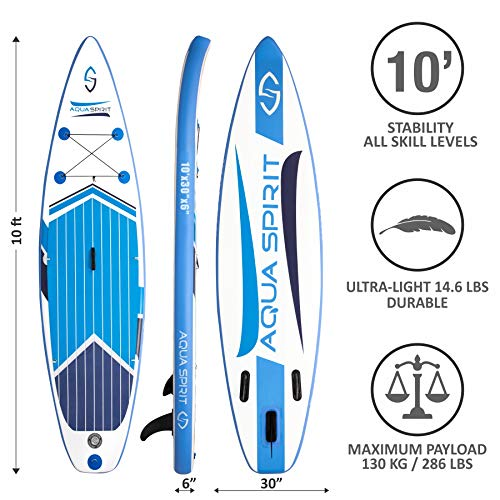 AQUA SPIRIT 10FT x 15cm iSUP Inflatable Stand up Paddle Board for Adult Beginners/Intermediate Max load 150KG with Backpack, Leash, Paddle, Changing Mat & Waterproof Phone Case - Shoppersbase