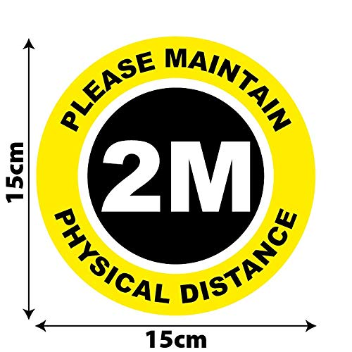 Social Distancing Floor Marking Circles - 150/300mm - Pack of 10 | Anti-slip | Heavy Duty | Warning tape for indoor use (15cm, 2m Physical Distance) - Shoppersbase