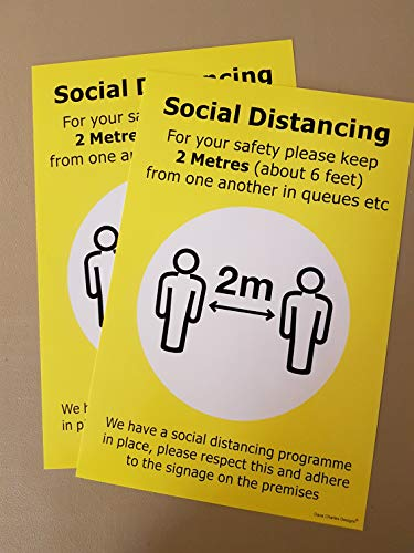Pack of 2 Please ensure social distancing stay more than 2 metres or 6 feet away from people Safety sign - Door or Wall Sign 200mm x 300mm - Shoppersbase