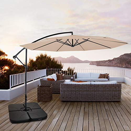 BB Sport Parasol base weights parasol stand for cantilever parasol cross base black 60 litres / 80 kg - can be filled with water or sand - Shoppersbase