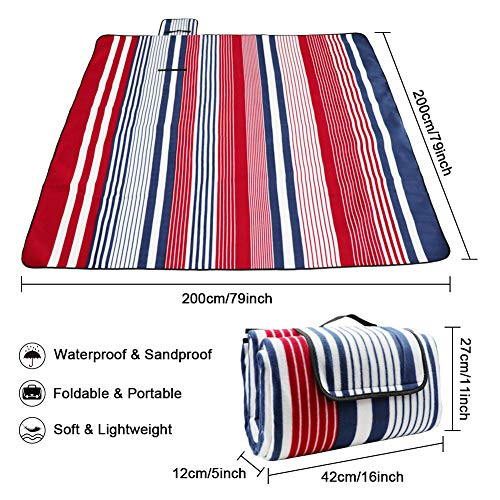 LIVEHITOP Fleece Picnic Blanket Waterproof Backing 200x200 cm - Portable Compact Thickening Extra Large Mat Rug for Camping BBQ Outdoor Indoor - Shoppersbase