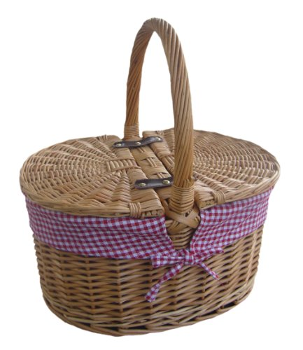 Buff Willow Wicker Oval Lidded Red Gingham Lined Hamper Picnic Basket - Shoppersbase