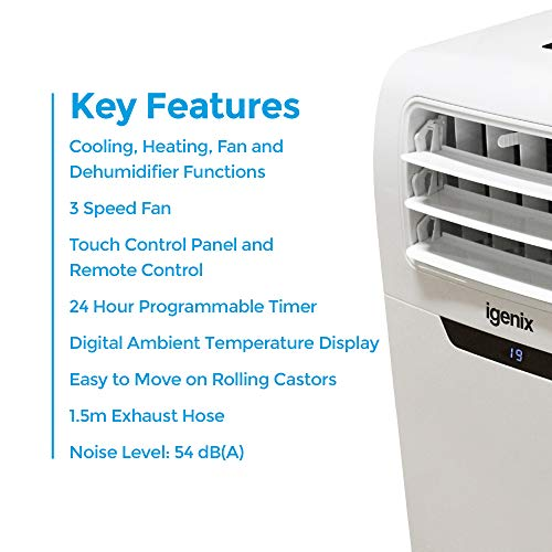 Igenix IG9901 3-in-1 Portable Air Conditioner with Cooling, Fan and Dehumidifier Function, 3 Fan Speeds with Sleep Mode, Remote Control and 24 Hour Programmable Timer, 9000 BTU, White - Shoppersbase