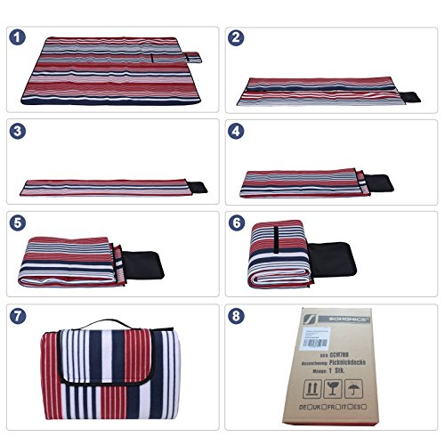 SONGMICS Unisex's Picnic, Water-Resistant Mat, Multifunctional Beach Blanket, for Camping, Hiking, Foldable and Lightweight, 200 x 200 cm, White Strips GCM70R, Red Stripe - Shoppersbase