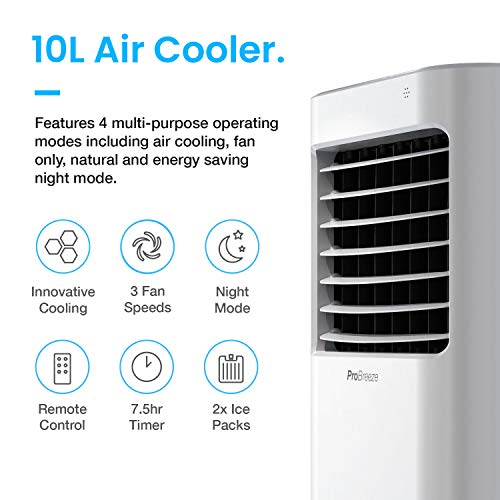 Pro Breeze 10L Portable Air Cooler with 4 Operational Modes, 3 Fan Speeds, LED Display & Remote Control. High Powered Evaporative Air Cooler with Built in Timer & Automatic Oscillation - Shoppersbase
