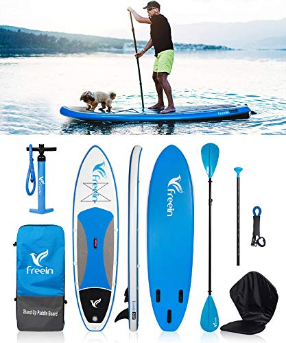 "10FT Inflatable SUP Stand Up Paddle Board (6"" Thick, 31"" Wide) - Beginner's Kit - Adj Aluminium Floating Paddle, Pump with Pressure Gauge, ISUP Travel Backpack, Leash, Padded Kayak Seat Reusable"