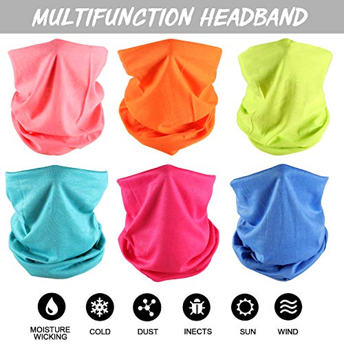 Casibecks 6 PCS Multifunctional Headwear Neck Scarf Bandana Balaclava Headband Neck Gaiter Tube Bandana Stretch Snood for Sports Yoga Running Cycling Hiking Climbing Random Colors - Shoppersbase