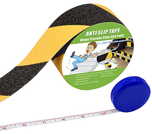 Anti Slip Tape, High Traction,Strong Grip Abrasive, Not Easy Leaving Adhesive Residue, Indoor & Outdoor, with Measuring Tape(50MM Width x 5M Long, Black/Yellow) - Shoppersbase