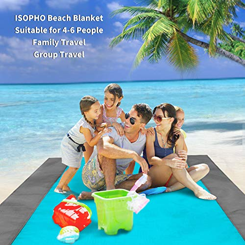 ISOPHO Beach Blanket Picnic Blanket, Extra Large 210 x 200cm/78.7*82.7IN Waterproof Sandproof Water Resistant Beach Mat with 4 Fixed Nails, Reinforced Edging for Beach, Camping, Hiking and Grass Trips - Shoppersbase