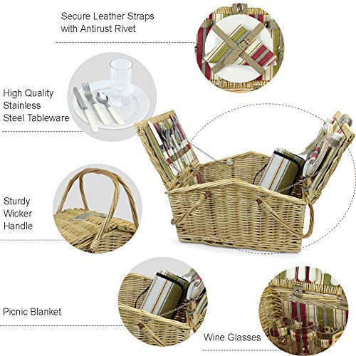 HappyPicnic Willow Picnic Basket for 4 Persons with Double Lids and foldable handles, Wicker Picnic Hamper with Printed Stripe Cotton Lining, Willow Picnic Set, Picnic Gift Basket (Multi Stripe) - Shoppersbase