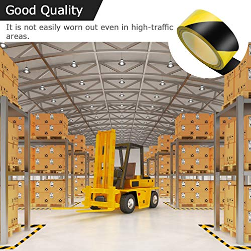 WooZuu Safety Tapes 48mm x 20m Black & Yellow Self Adhesive Hazard Warning Tape Safety Barrier Tape - Shoppersbase