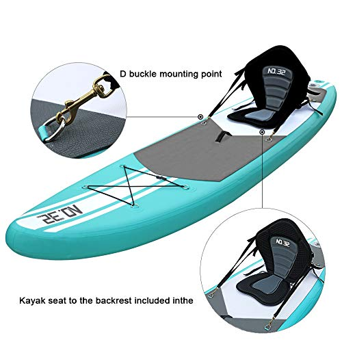 10ft / 3m Inflatable Stand Up Paddle Board | Inflatable SUP Board Beginner's Surfboard Kit w/Adjustable Paddle | Air Pump w/Pressure Guage | Repair Kit | Premium Leash | Kayak Seat & Carry Backpack - Shoppersbase