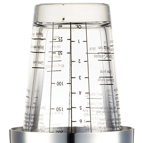 BarCraft Boston Cocktail Shaker Set with Printed Recipes, Stainless Steel, 400 ml - Shoppersbase