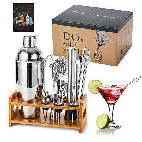 HB life Cocktail Set 15 Piece Stainless Steel Cocktail Gift Set with Stand for Enhanced Bamboo Accessories Bar Cocktailet Large 750 ml Cocktail Shaker Cocktail Shaker Mixer - Shoppersbase