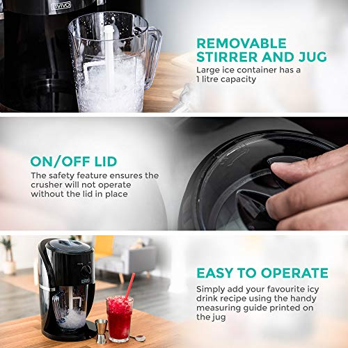 LIVIVO Electric Ice Crusher with Ice Scoop and Large Removable Hopper Box for Making Snow Cones, Blending Slushie, Cocktail, Frappe, Iced Tea and Coffee etc - Shoppersbase