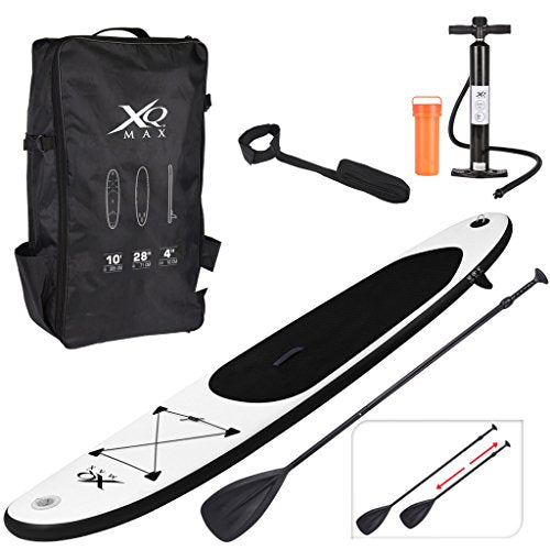 Guaranteed4Less XQMax Sports Paddle Surf Board Inflatable Stand Up SUP Bag Pump Oar Water Racing (Black) - Shoppersbase