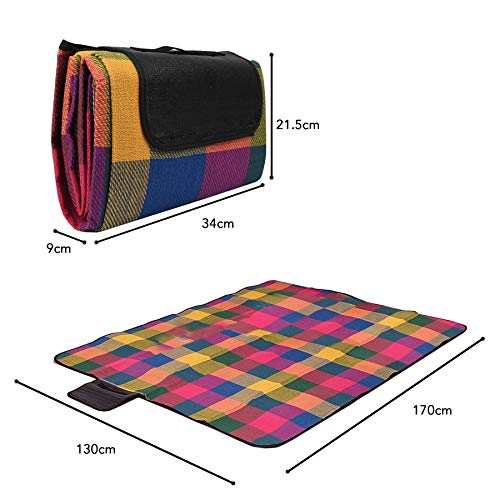 Vinsani 170 x 130cm Folding Picnic Blanket Waterproof & Sandproof Backing - Ideal for Camping & Outdoor Picnic - Multicoloured Rug Mat with Carry Handle - Shoppersbase