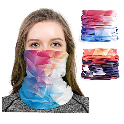 Fairvir Fashion Magic Neck Gaiter Outdoor Seamless Thin Balaclava Multi-Functional Dust Breathable Headwear Bandanas Camping Motoring Riding Cycling Headband for Men and Women (2 Pcs) - Shoppersbase