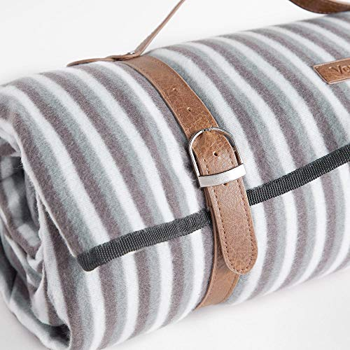 VonShef Picnic Blanket, Extra Large Outdoor Striped Picnic Blanket with Waterproof Lining and Faux Leather Carrier Handle, Outdoor Blanket Size 200 x 220cm - Shoppersbase